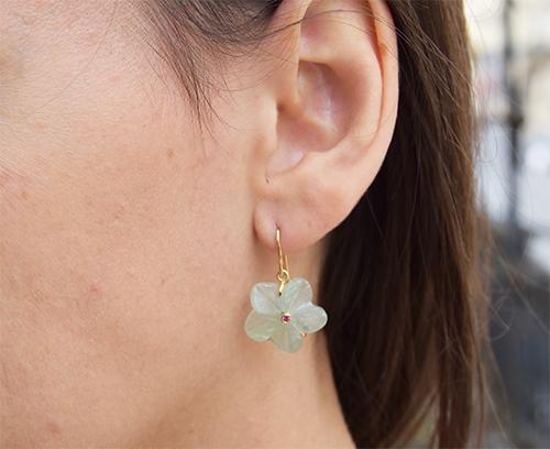 Jaipur boucles d'oreilles or jaune, quartz vert, rubis